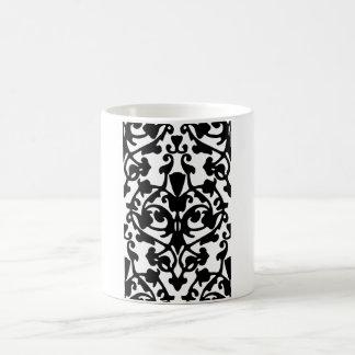 Black Decorative Damask Stamp w/ Botanical Pattern Coffee Mugs