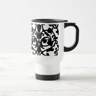 Black Decorative Damask Stamp w/ Botanical Pattern Mugs