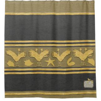 Black Decorative Gold Shells Cranes Shower Curtain
