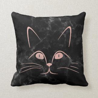 Black Deep Pink Rose Blush Glam Cat Marble Throw Pillow