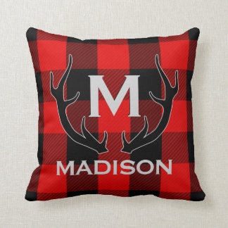 Black Deer Antlers Monogram Red Buffalo Check Cushion