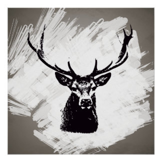 Black deer head on white | Poster