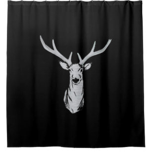 Black Deer Shower Curtain