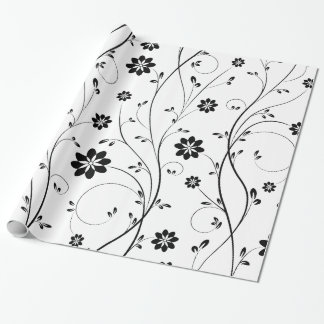 Black Delicate Flowers Pattern Wrapping Paper