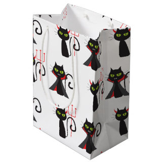 Black devil cats pattern Halloween Medium Gift Bag