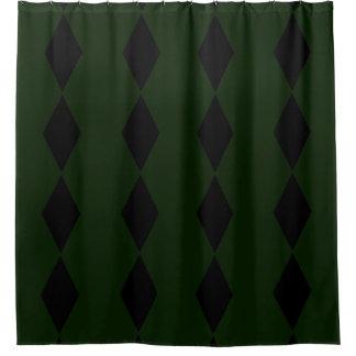 Black Diamond Green Shower Curtain