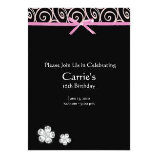 Black Diamond on Pink Sweet 16 Birthday Invitation