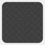 Black Diamond Plate Patterned Square Stickers