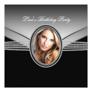 Black Diamond Womans Photo Birthday Party Personalized Announcements