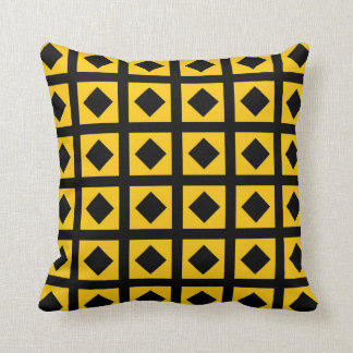Black Diamonds and Gold Squares Cushion