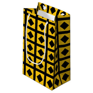 Black Diamonds and Gold Squares Small Gift Bag