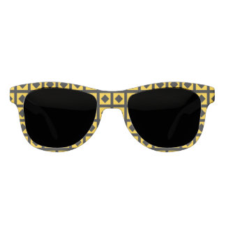 Black Diamonds and Gold Squares Sunglasses