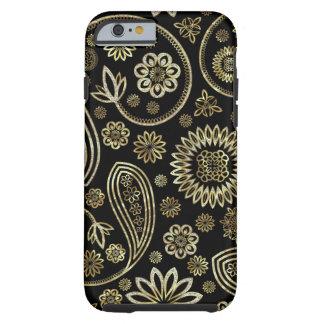 Black Diamonds And Gold Vintage Floral Paisley Tough iPhone 6 Case