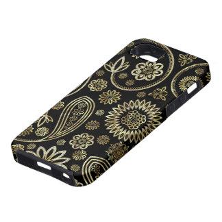 Black Diamonds And Gold Vintage Floral Paisley Tough iPhone 5 Case