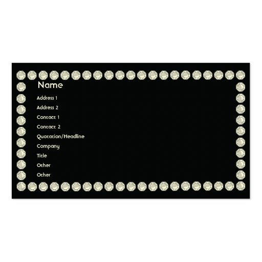 Black Diamonds - Business Pack Of Standard Business Cards