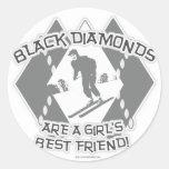 Black Diamonds Round Sticker