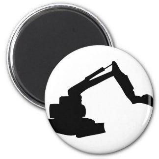 black digger construction building-site 6 cm round magnet