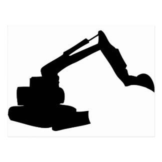 black digger construction building-site post card
