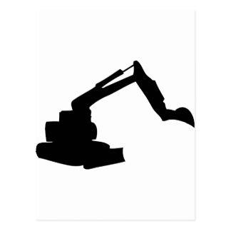 black digger construction building-site postcard