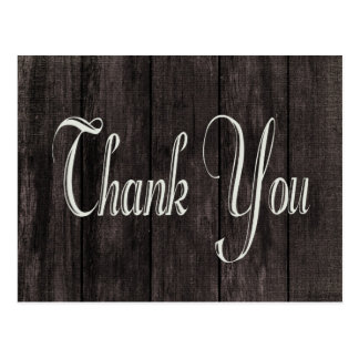 Black Distressed Wood Rustic Thank You Post Card