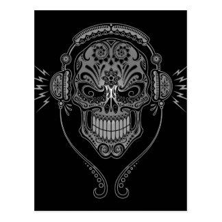 Black DJ Sugar Skull Postcard