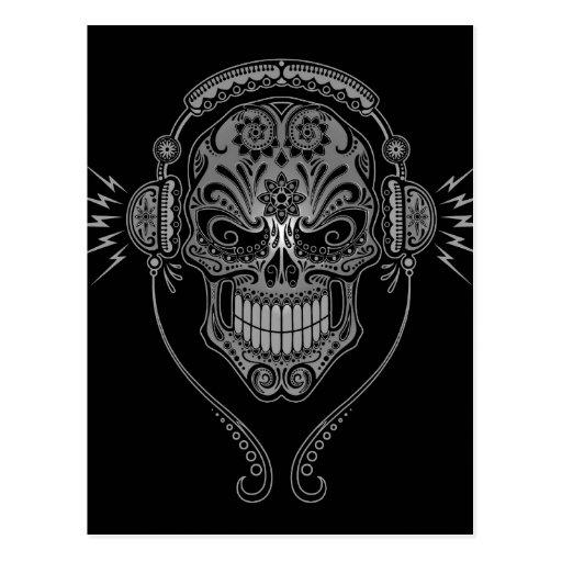 Black DJ Sugar Skull Post Cards