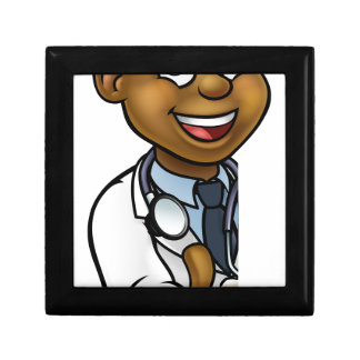 Black Doctor Thumbs Up Cartoon Character Sign Gift Box