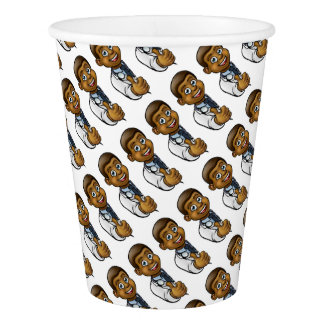 Black Doctor Thumbs Up Cartoon Character Sign Paper Cup
