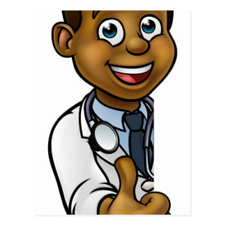 Black Doctor Thumbs Up Cartoon Character Sign Postcard