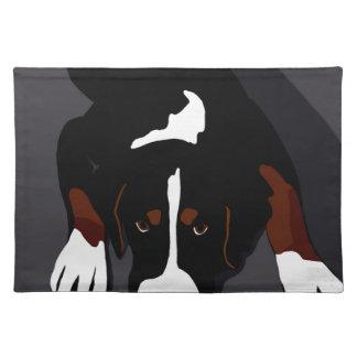 Black dog art placemat