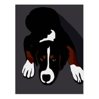 Black dog art postcard
