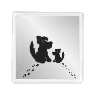 Black Dog Family Acrylic Tray
