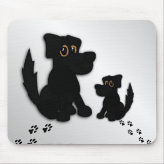 Black Dog Family Mouse Pad
