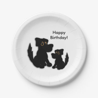 Black Dog Family Paper Plate