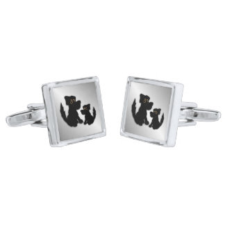 Black Dog Family Silver Finish Cuff Links