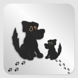 Black Dog Family Square Sticker