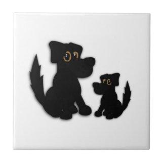 Black Dog Family Tile