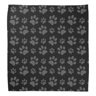 Black dog paw print head kerchiefs