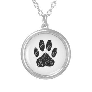 Black Dog Paw Print With White Flourishes Necklaces