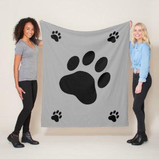 Black Dog Paw Silhouettes Fleece Blanket