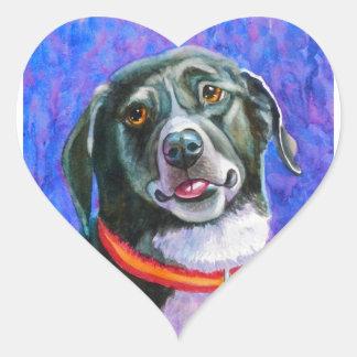 Black Dog Raspberry Heart Sticker