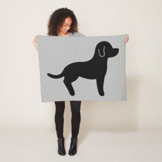 Black Dog Silhouette Fleece Blanket