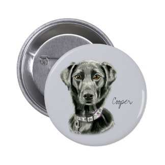 Black Dog Watercolor Painting 6 Cm Round Badge