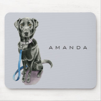 Black Dog Watercolor Painting Mouse Pad