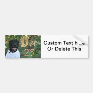 Black dog white shirt Dec 25th design Bumper Stickers