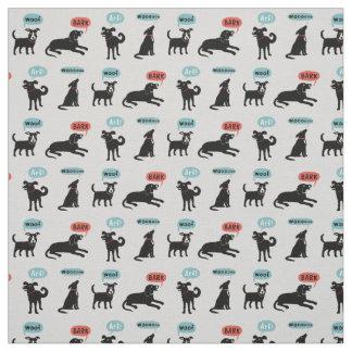 Black Dogs - Arf Bark Woof Wooo Fabric
