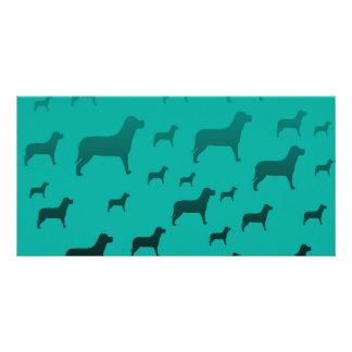 Black dogs pattern customized photo card