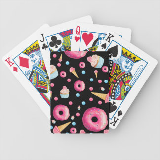 Black Donut Collage Bicycle Playing Cards