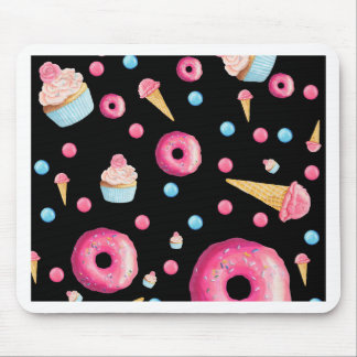 Black Donut Collage Mouse Pad