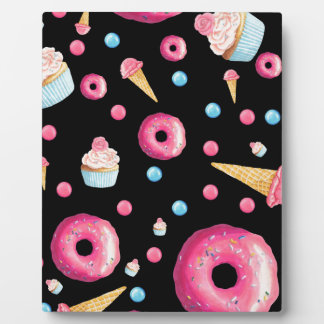 Black Donut Collage Plaque